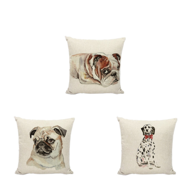 High Quality Cute Funny Pet Dog Cushion Cover 45x45CM French Bulldog Golden Rrtriever Decor Gift Linen Sofa Office Pillow Cases