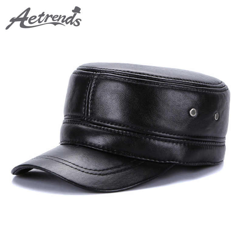 [AETRENDS] Winter Military Hats for Men 100% Genuine Leather Flat Cap Dad Hat Sailor Captain Army Caps Z-5493