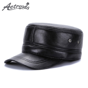 [AETRENDS] 2017 New Winter Military Hats for Men 100% Genuine Leather Flat Cap Dad Hat Sailor Captain Army Caps Z-5493