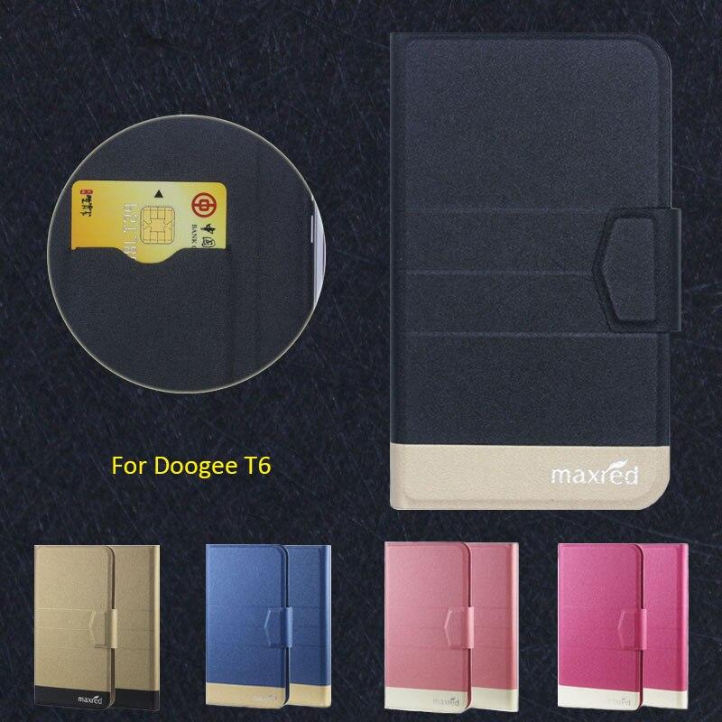 2016 Super! Pouzdra na telefon Doogee T6, 5 barev Factory Direct Vysoce kvalitní luxusní ultratenké kožené pouzdro pro Doogee T6