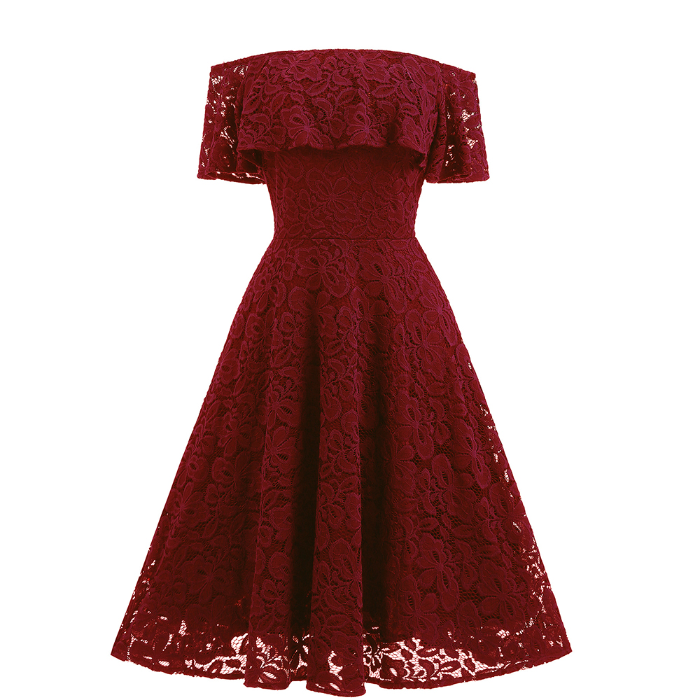 Vintage Burgundy Lace Round Neck Long Sleeve Pleated Midi Dress ...