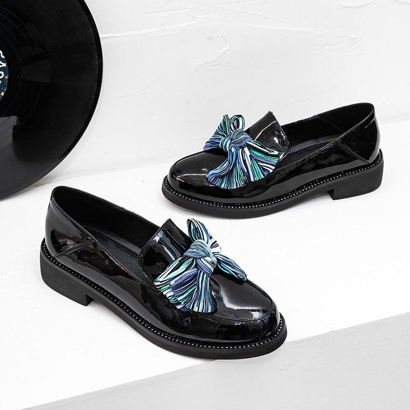 Verni Slip De Punk Style Espadrilles on Cuir blue Black Plate Mocassins En Jepanese Chaussures Véritable Femmes Vente Appartements Loisirs forme Mocassin ASXWdqIIn