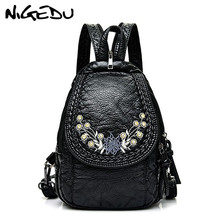 Embroidery Flowers Women Backpack Small Soft Pu Leather Backpacks For Girls Teenagers Female Shoulder Bag Chest