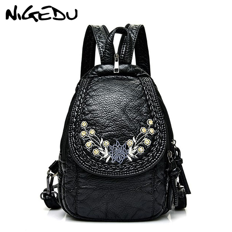 Embroidery Flowers Women Backpack Small Soft Pu Leather