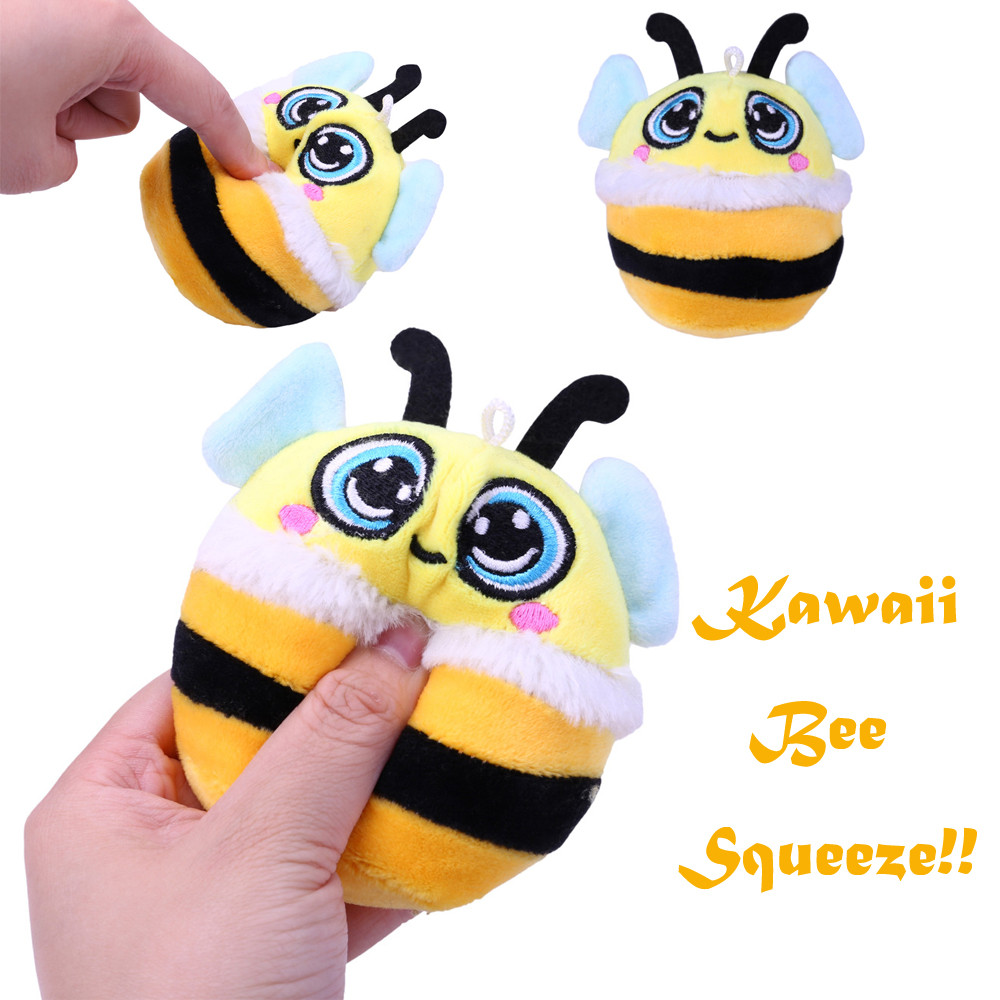 Furry Cute Yellow Bee Stuffed Slow Rising Squeeze Keychain Stress Reliever Toy Interesting Toys Anti Stress Toys  A520