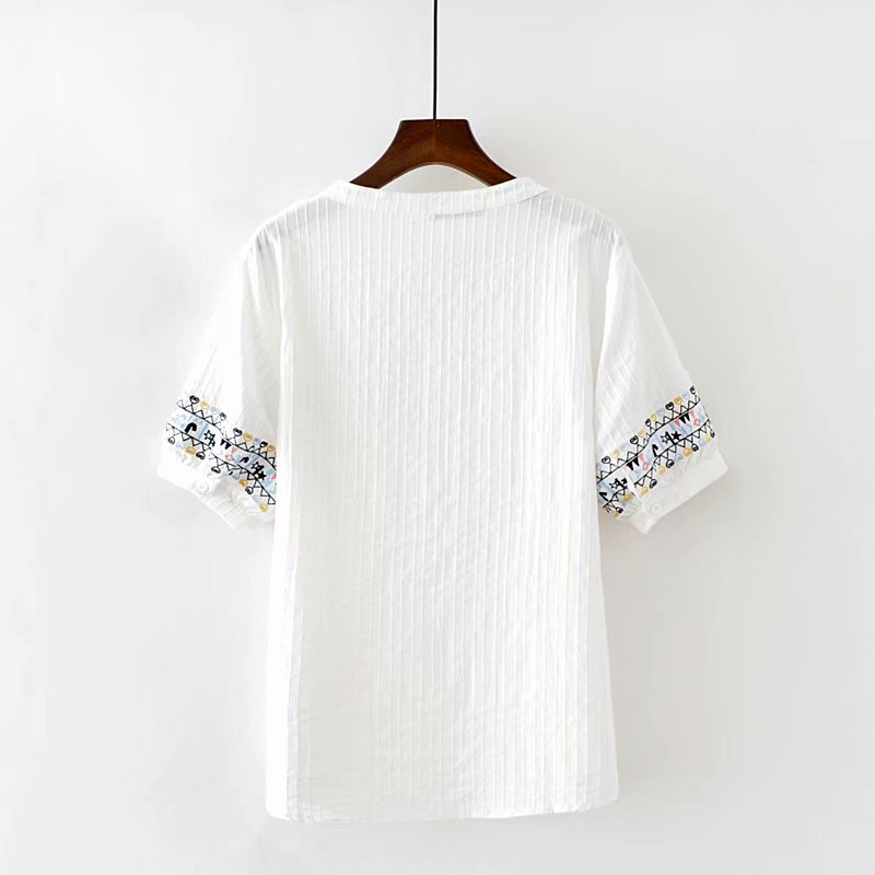 Plus size V-Neck short sleeve blouses women 2018 new fashion cotton Embroidered white striped shirt summer ladies tops