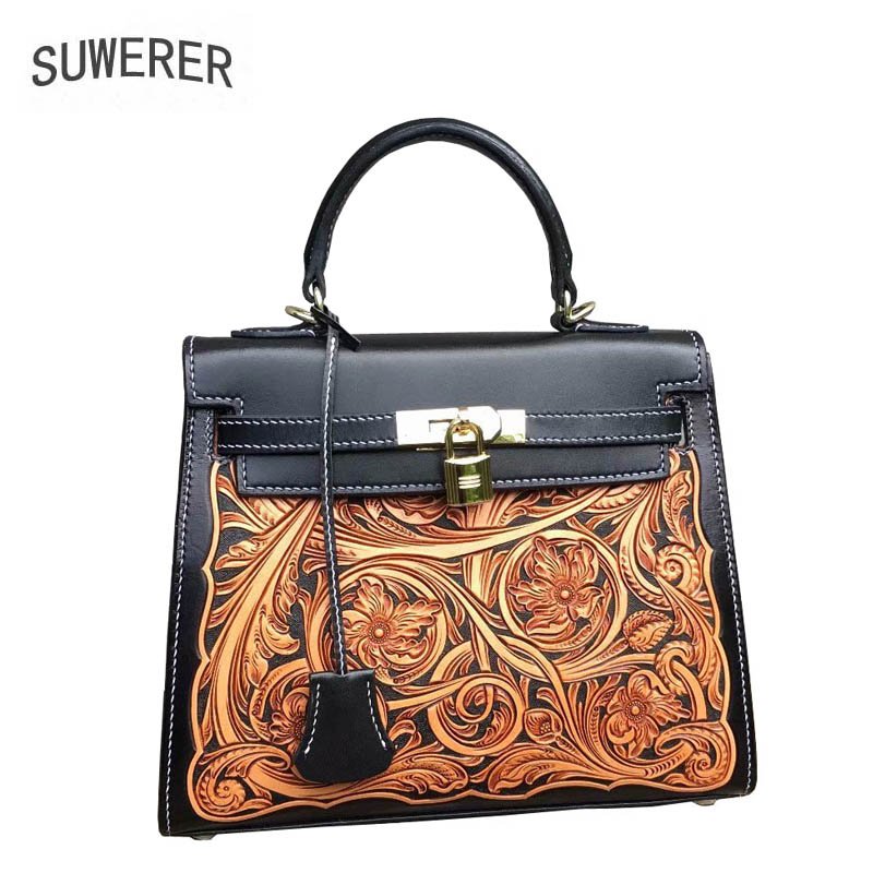 SUWERER 2019 New Women Genuine Leather Bags Handmade Carved Luxury Fashion Cowhide Tote Women Bags Designer Women Famous Brands