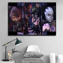 1 Pieces Canvas Print Commander And Urdnot Wrex Game Mass Effect Poster Wall Art Pictures Home Decorative Living Room Fremwork
