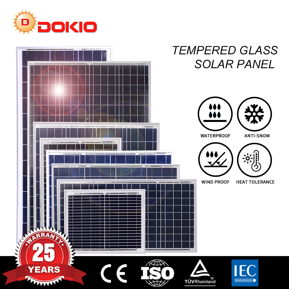 Dokio 20 до 80 Вт 18 В/12 В поликристаллическая солнечная панель Высокоэффективная домашняя панель из закаленного стекла 20 Вт 30 Вт 50 Вт 80 Вт