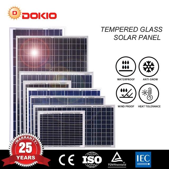Dokio 30 to 80w 18v/12v Polycrystalline Solar Panel High Efficiency Tempered Glass Home Solar Panel 30w 40w 80w