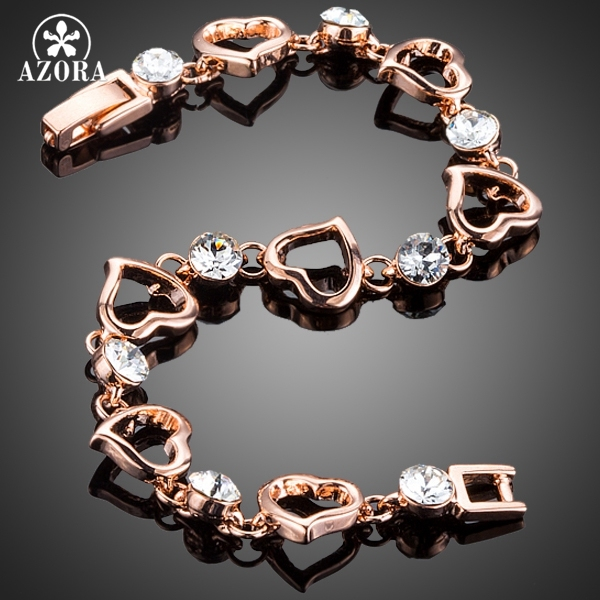 AZORA Bracelet – With Rose Gold Plated – Clear Stellux Austrian Crystal Heart Bracelet – Romantic Valentine's Gift