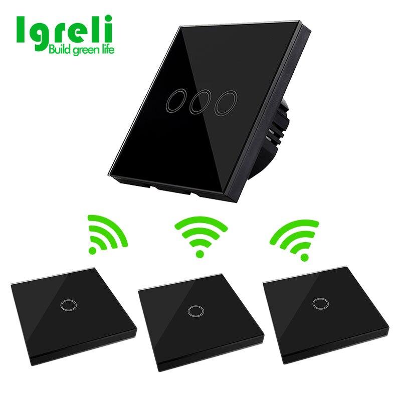 Panneau intelligent 3 Gang commutateur tactile modèle EU 2 voies télécommande interrupteur tactile pour appliques AC 170 V ~ 250 V