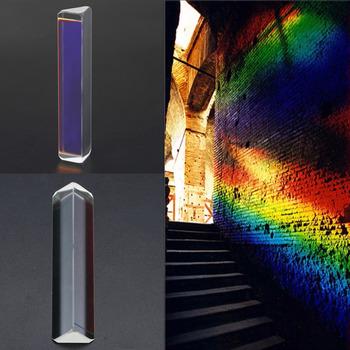 1PC potrójny pryzmat szkło optyczne potrójny trójkątny pryzmat fizyka refraktor nauczanie spektrum światła narzędzia pomiarowe tanie i dobre opinie Mayitr Other Optical Triple Prism Glass Approx 15x15x87mm