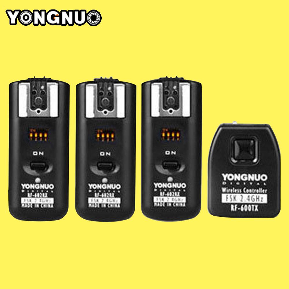 Prix pour Yongnuo RF602 RF-602 2.4 GHz Sans Fil À Distance Déclencheur Flash 1 X Émetteur + 3 X Récepteurs pour Canon 1100d/1000d/600d/550d
