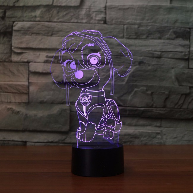 Cute Puppy Dog Rocky Marshall Rubble Chase Skye Action Figures Anime Toys 3D Illusion Lamp Colorful Atmosphere LED Nightlight 12pcs set children kids toys gift mini figures toys little pet animal cat dog lps action figures