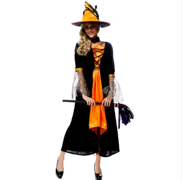 lady women orange black sexy Halloween  witch long vampire suit queen costume black long sleeve with hat long dresses A162