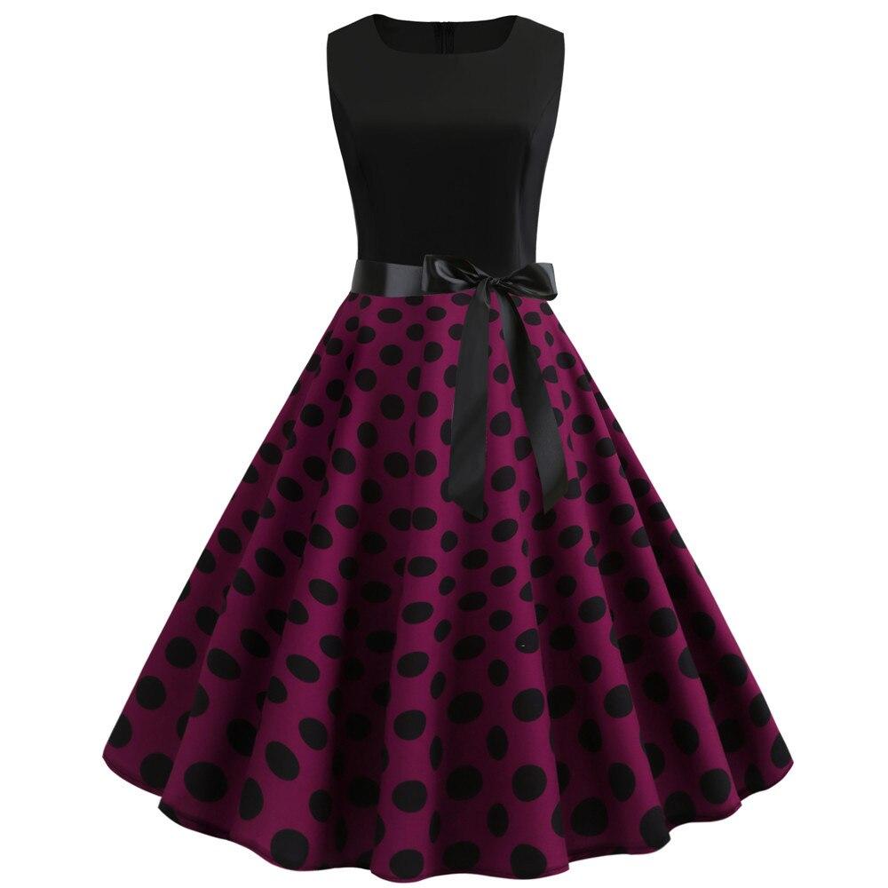 HTB16ODzbfvsK1RjSspdq6AZepXaV Women Summer Dresses 2019 Robe Vintage 1950s 60s Pin Up Big Swing Party Work Wear Rockabilly Dress Black Polka Dot Vestidos