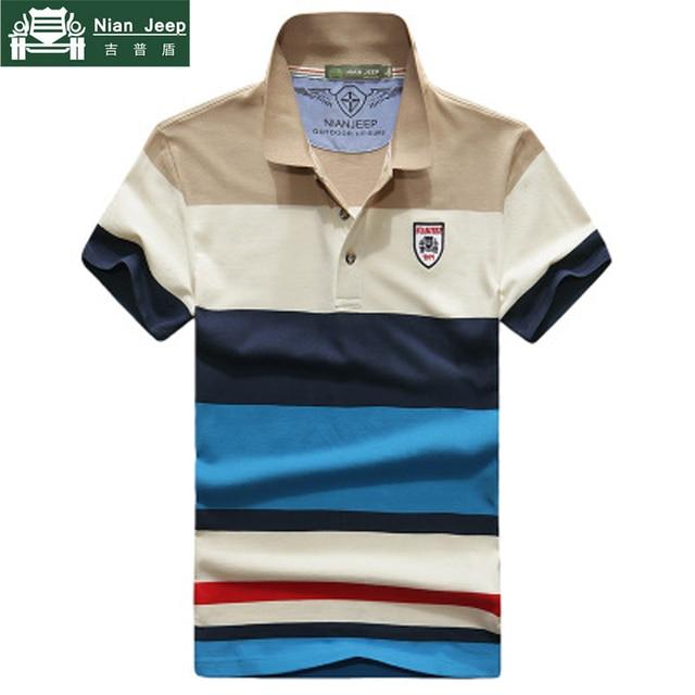 b0c37cf9c1fb5 NIANJEEP 2018 Camisa POLO Dos Homens de Manga Curta Casuais de Algodão  Patchwork camisa Gola Polo