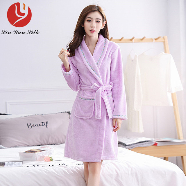 2017 new autumn winter flange velvet robes solid pure color pajamas ...