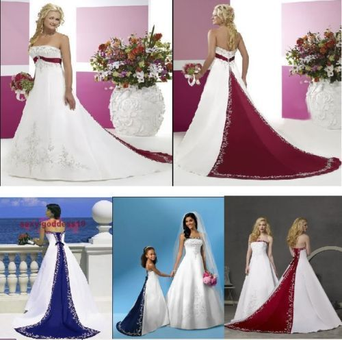 New Wedding Dresses White Ivory Blue Green Purple Red Satin Embroidery Bridal Gown Plus Size Color Accent Bridal Dresses LB733