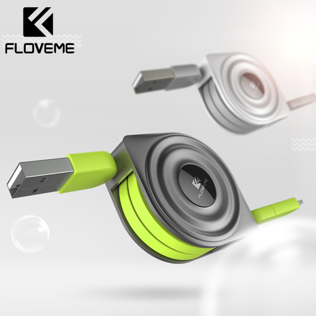 FLOVEME Retractable Phone Cable 2 in 1 For Lightning to USB Charger Data For iPhone 8 Cable Micro USB Charging Cables Android
