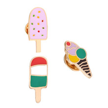 2018 New Fashion 3 pcs/set Kartun Bentuk Es Krim Keramik Bros Lady Enamel Bros Topi Sweater Dekorasi Perhiasan Pin Hadiah(China)