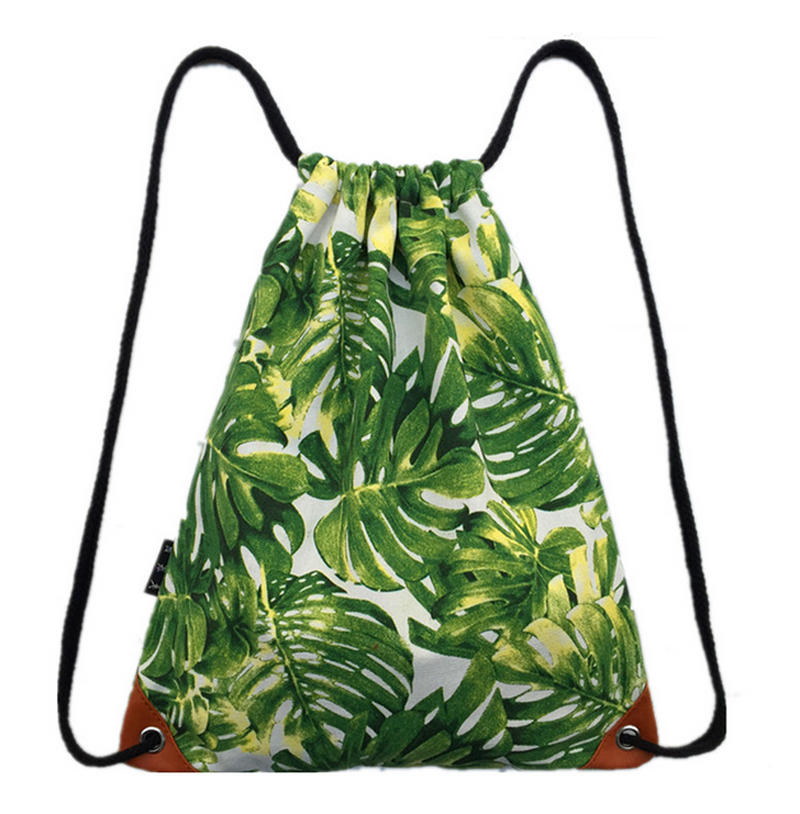 Women s Backpack Fashion Green Leaf Drawstring Bags School Bag for Teenager Girls Graffiti Drawstring
