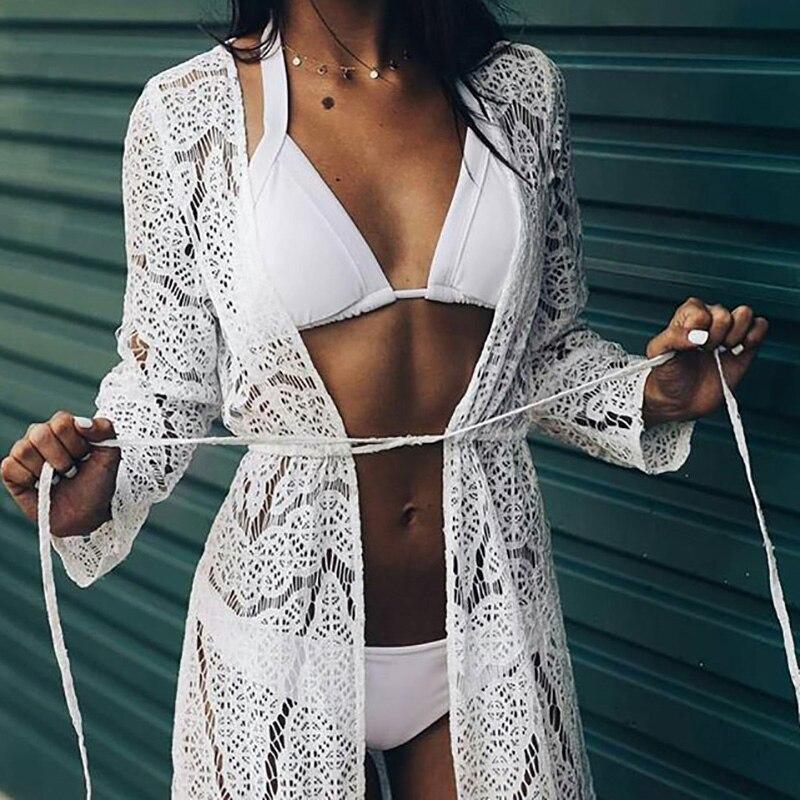 Fsahion Sexy Robe De Plage Frauen Bikini Abdeckung ups Spitze Häkeln Aushöhlen Pareos Para spielen Tuniken strand kleid Strickjacke abdeckung ups