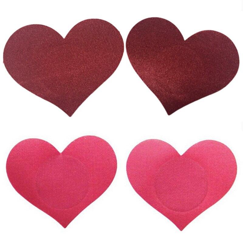 2Pcs Nipple Covers Women Breast Petals Heart Shape Adhesive Breasts Petals And Sticker Emptied Chest Breast Petal 4 Colors