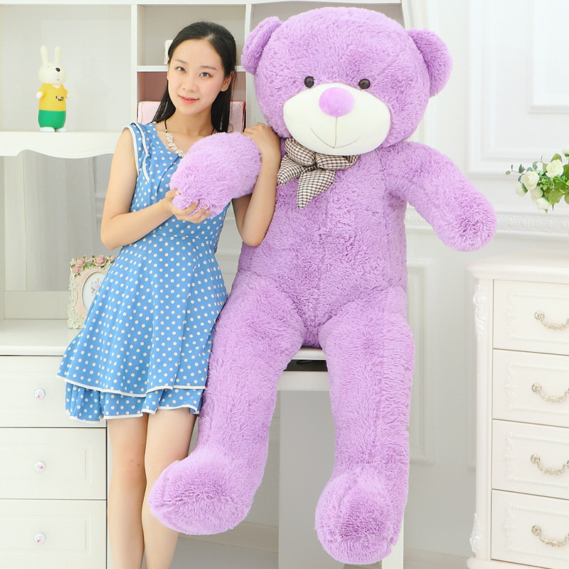 huge lovely plush purple teddy bear toy cute big eyes bow big stuffed teddy bear doll gift about 160cm lovely new plush teddy bear toy stuffed light brown teddy bear with bow birthday gift about 120cm