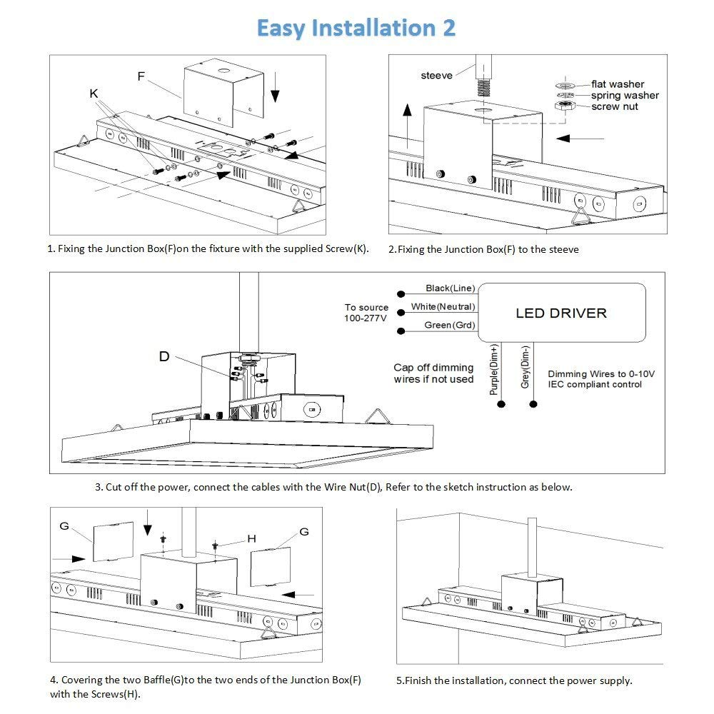 LED Linear High Bay, garage light, led garage light, factory light, work light,led shop light (6)