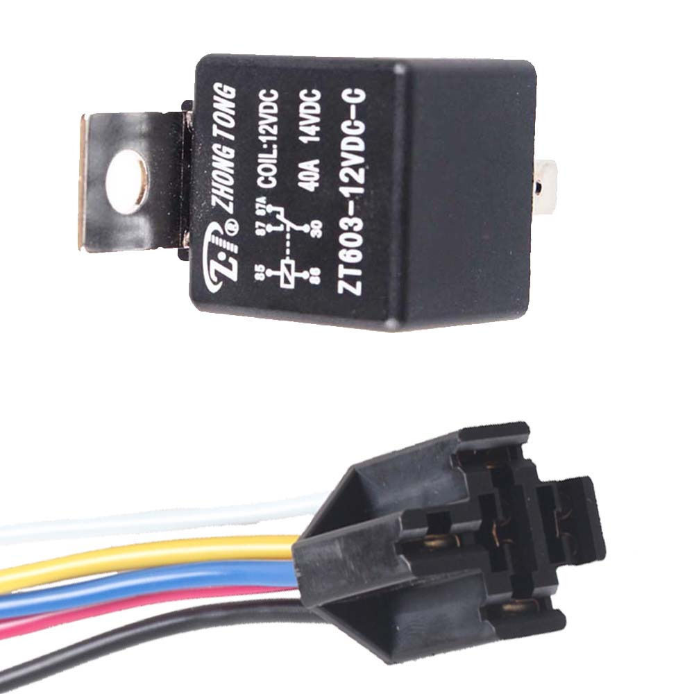 Ee Support Lot5 Black Iron Back Car Dc 12v 40a Amp Spdt Relay 5pin  U0026 5 Wire Relay Plug W8