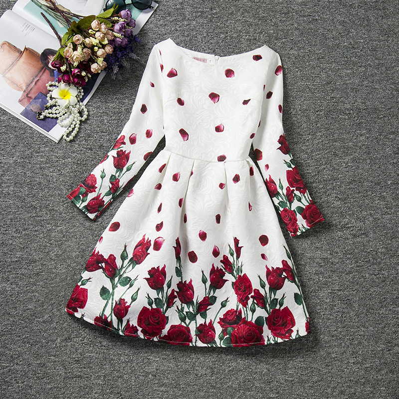 Flower Print Long Sleeve Girls Dress 2017 Fashion European and American Style Costumes for Kids Vintage Teenagers Dress Clothing 2014 new fashion fall european american style flower butterfly print sundress baby