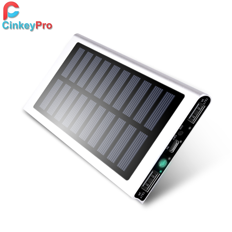 Solar Power Bank for XiaoMi iPhone Tablet 13000mAh Ultra Thin Aluminum  Portable External Battery Pack Dual USB Charger Cinkeypro-in Power Bank  from ... 73342e4852ef