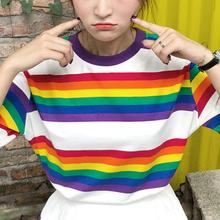 2019 New Yfashion Women Summer Loose All-match Stylish Rainbow Stripes Short Sleeve T-shirt