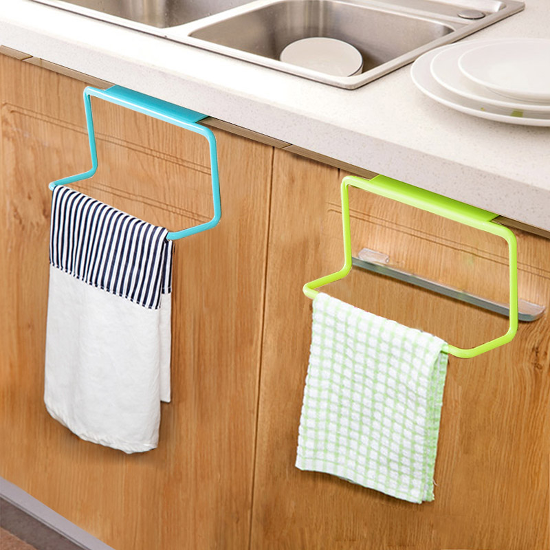 1Pc Over Door Tea Towel Holder Rack Rail Cupboard Hanger Bar Hook Bathroom Kitchen Top Home Organization Candy Colors Hot Sale