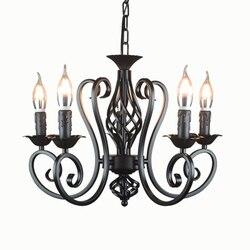Przemysłowe lustre żyrandol z kutego żelaza 3 5 6 światła żyrandole w stylu vintage świecznik retro czarno białe wiszące lampy hurtownie