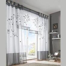 2016 tulle Vert Gris Violet Blackout Broderie rideaux pour salon chambres porte rideau tab top bande top rideaux