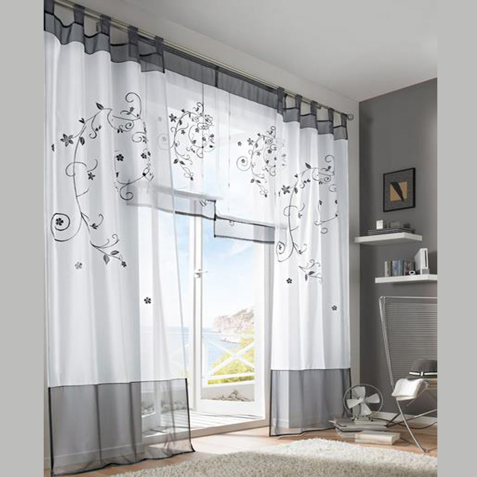 2019 Tulle Green Grey Purple Blackout Embroidery Curtains For Living Rooms Door Curtain Tab Top Tape In From Home Garden On