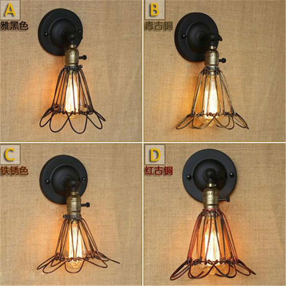 AC100-240 Black/Rustic/Red Bronze Wall sconces American Novelty creative industries mesh decorative wall light sconce