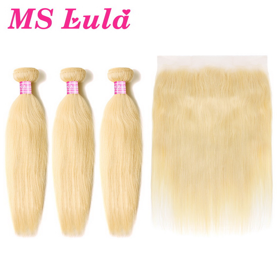MS Lula Brazilian Color 613 Straight Blonde Human Hair 3 Bundles With 13x4 Lace Frontal 100