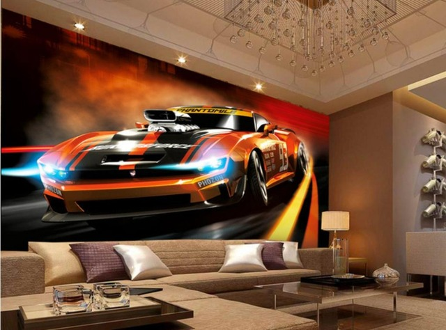 Sports Car Wallpaper For Bedroom: 2017 New Design 3d Mural Wallpaper Painting Style Dynamic