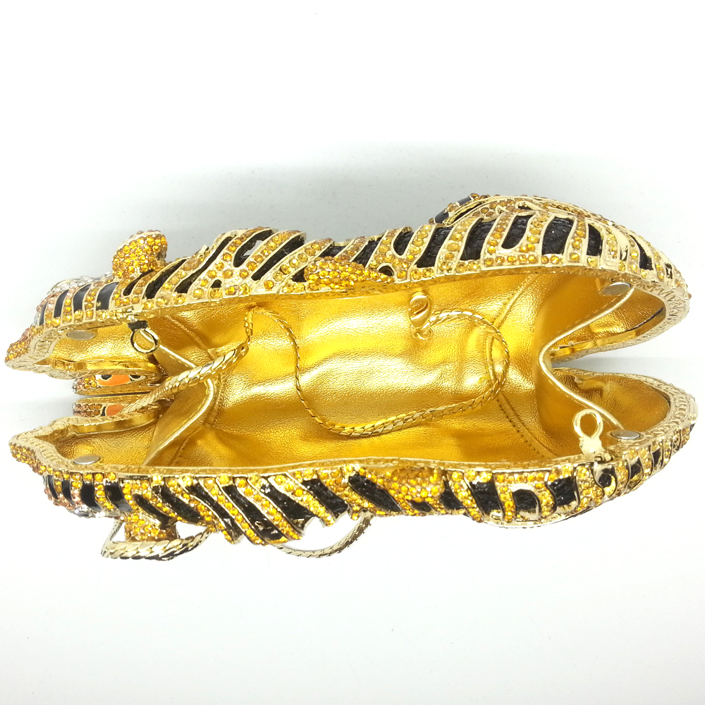 Image 5 - Boutique De FGG Elegant Women Gold Tiger Clutch Minaudiere  Evening Bags Diamond Wedding Handbag Bridal Purse Party Dinner  Bagevening clutch bagsbag ladiesclutch bag