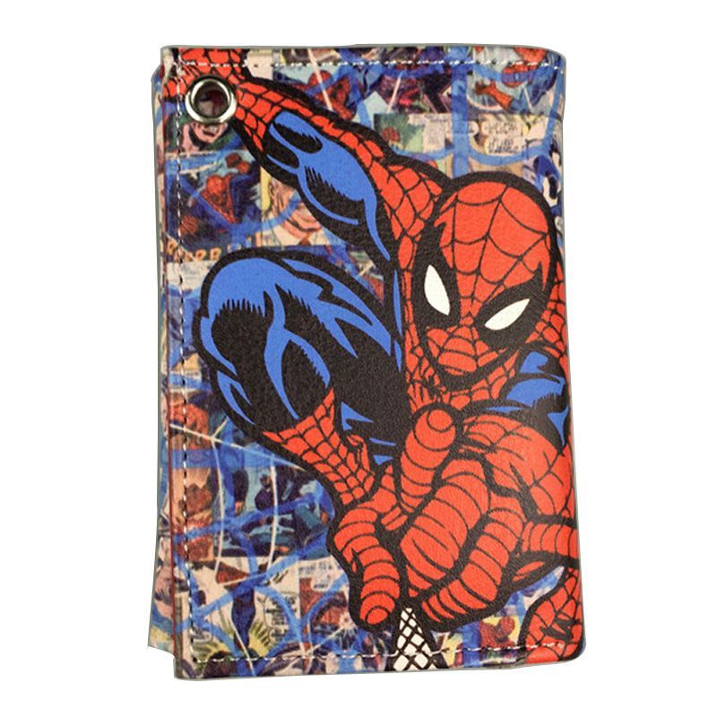 Comics DC Marvel Spider Man Purse Movie Anime Hero Wallets Leather Money Bags Clutch Pouch Teenager Cartoon Printed Short Wallet dc marvel comics spider man purse pen pencil stationery wallet leather card key coin money bag case rectangle zipper wallets