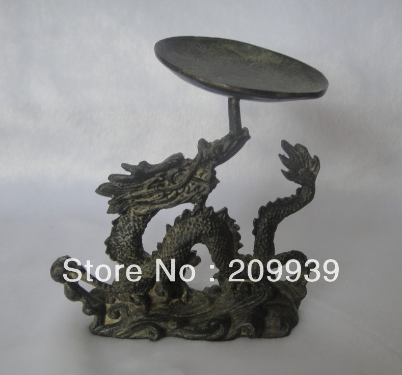 fast ship Hd0121 Antique Vintage chinese hand carved old bronze dragon plate unique statue (A0321)