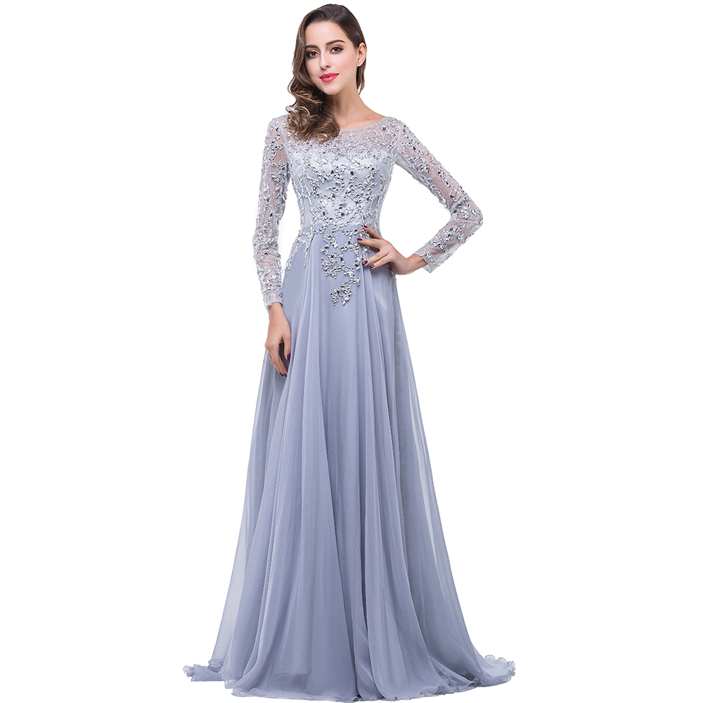 Generous Long Sleeves Prom Dresses Real Photos 2017 Crystals Beaded ...
