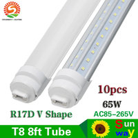 R17D T8 2400mm Led Tube Light 8ft 65W T8 LED V Shape Tube Lights Frosted Clear Cover Replace To Fluoresecent Light 10pcs
