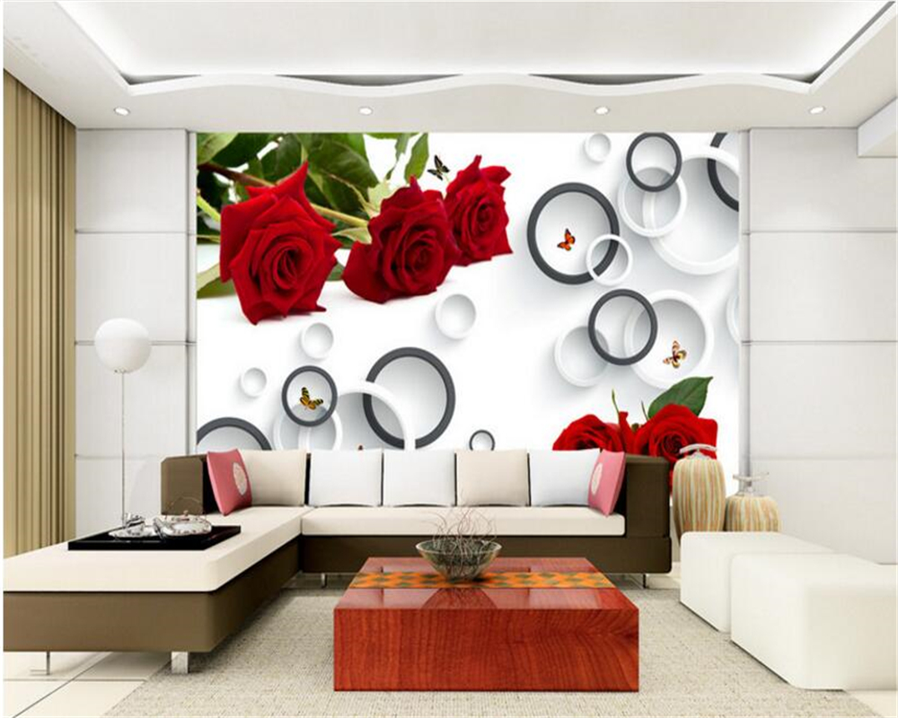 beibehang wallpaper for walls 3 d Fashion advanced big mural big red ...