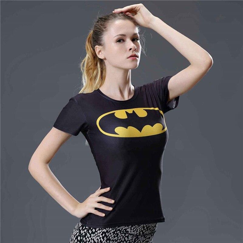 13 Fashion Batman T Shirt Women Compression Shirt Summer Short Sleeve O-neck Fitness Tshirt Women Tight Tee Shirt Femme Shirts