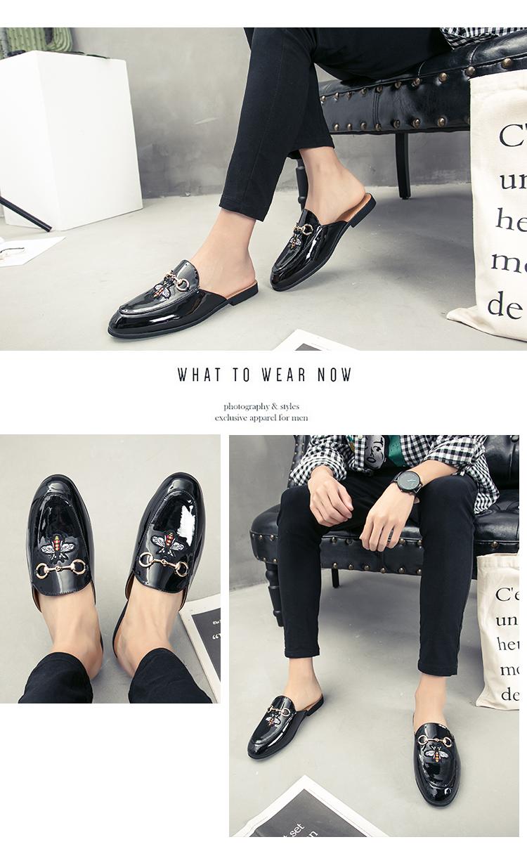 Men Backless dress leather slipper shoes Men unisex Bee prints Horseshoe buckle Casual business wedding Leather shoes women 13